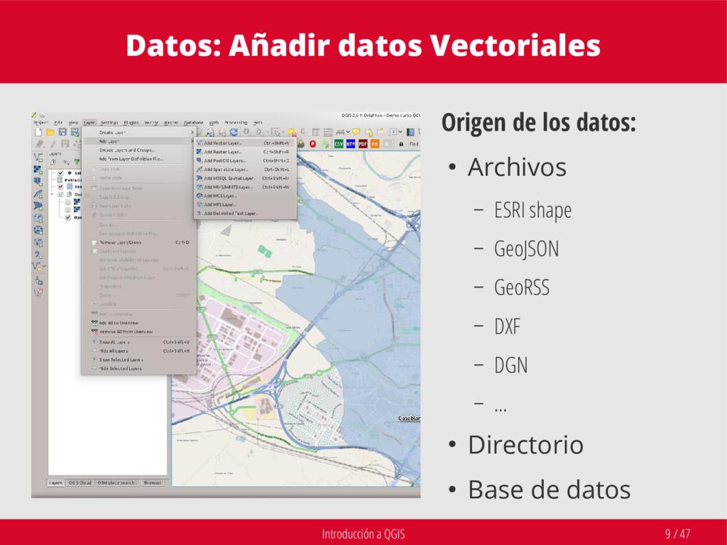 Introducción a QGIS 9 / 47 Datos: Añadir datos ...