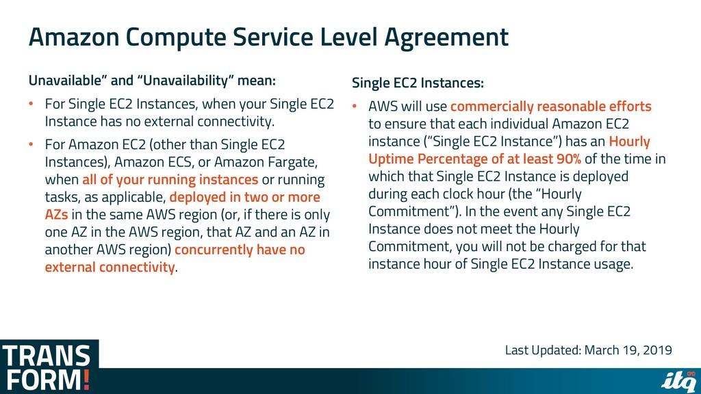 Amazon Compute Service Level Agreement Unavaila...