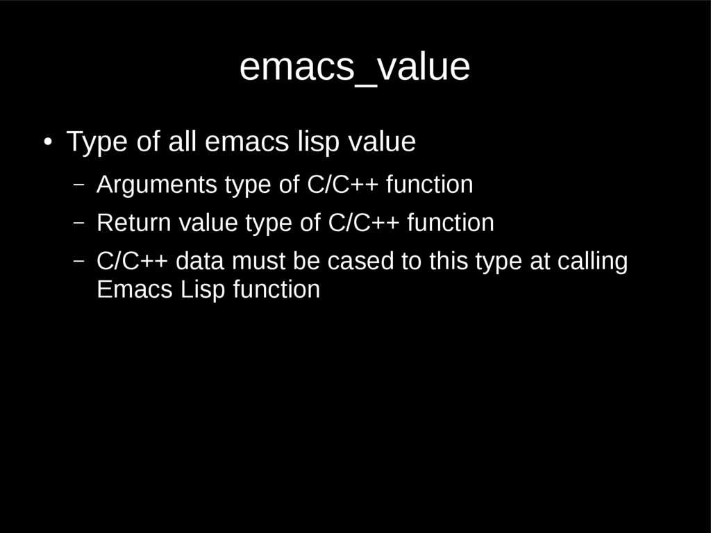 emacs_value ● Type of all emacs lisp value – Ar...