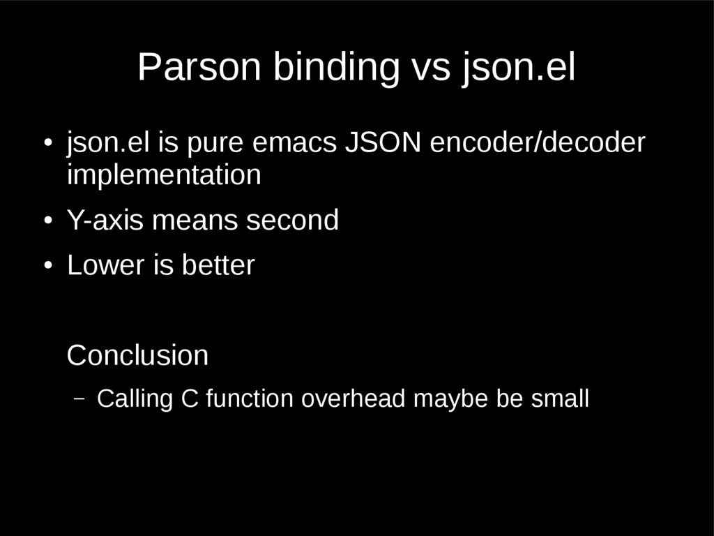 Parson binding vs json.el ● json.el is pure ema...