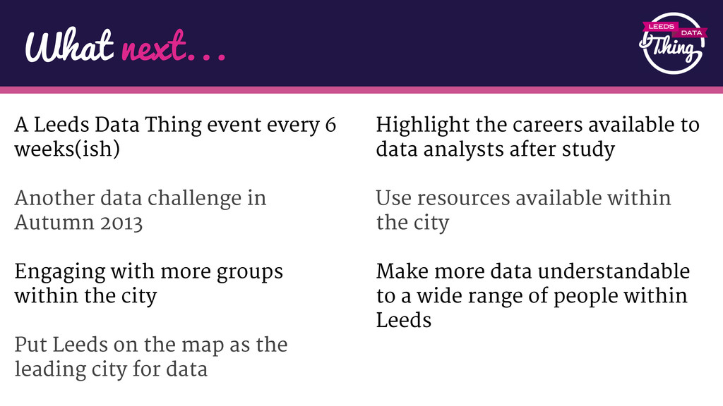 A Leeds Data Thing event every 6 weeks(ish) Ano...