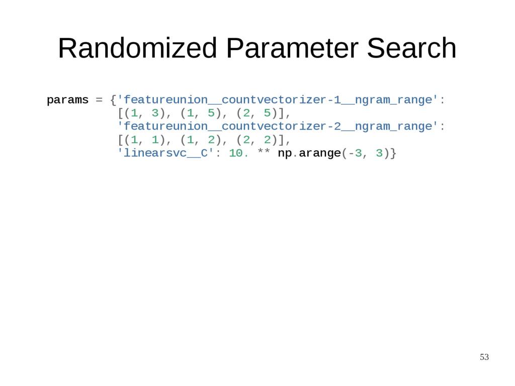53 Randomized Parameter Search params = {'featu...
