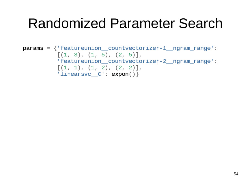 54 Randomized Parameter Search params = {'featu...
