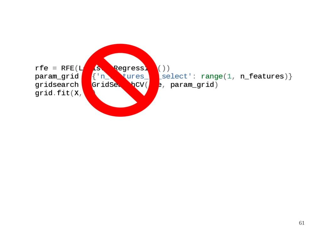 61 rfe = RFE(LogisticRegression()) param_grid =...