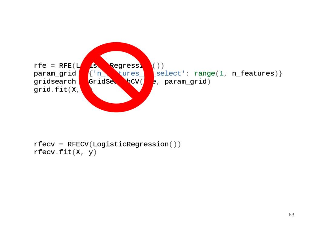 63 rfe = RFE(LogisticRegression()) param_grid =...