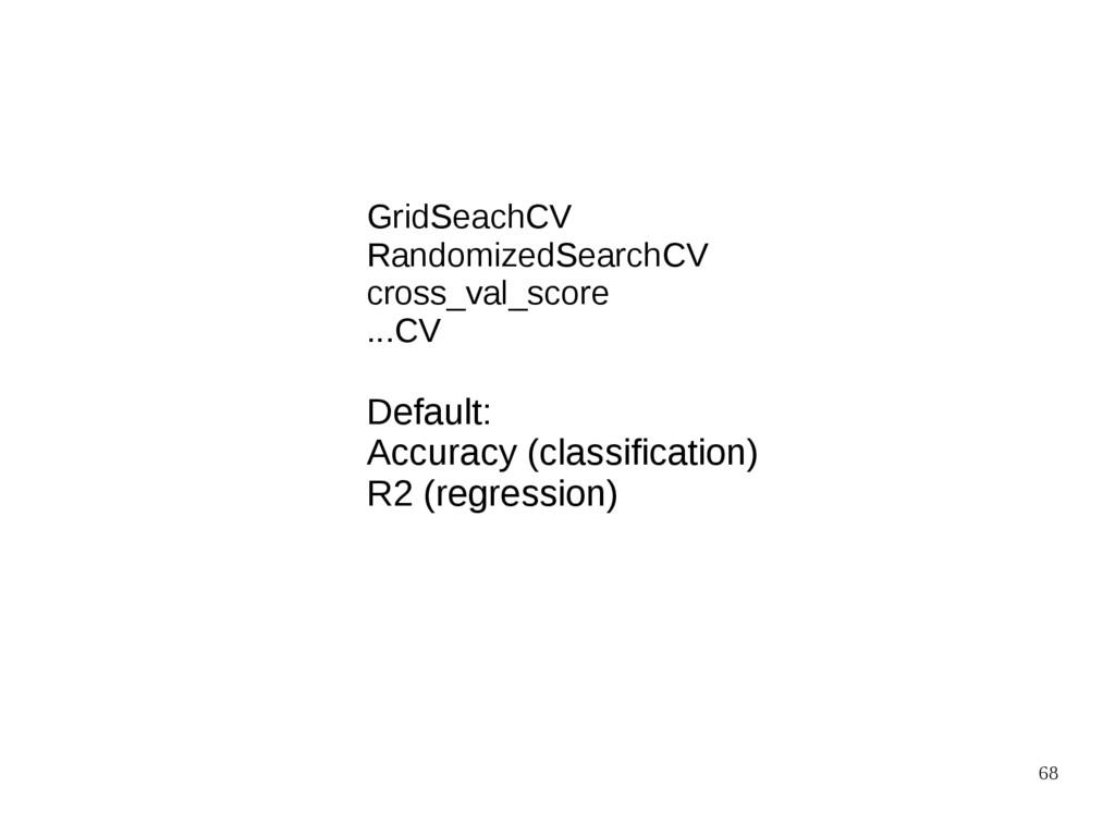 68 Default: Accuracy (classification) R2 (regre...