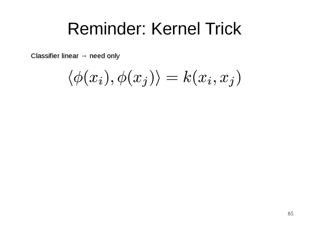 85 Reminder: Kernel Trick Classifier linear → n...