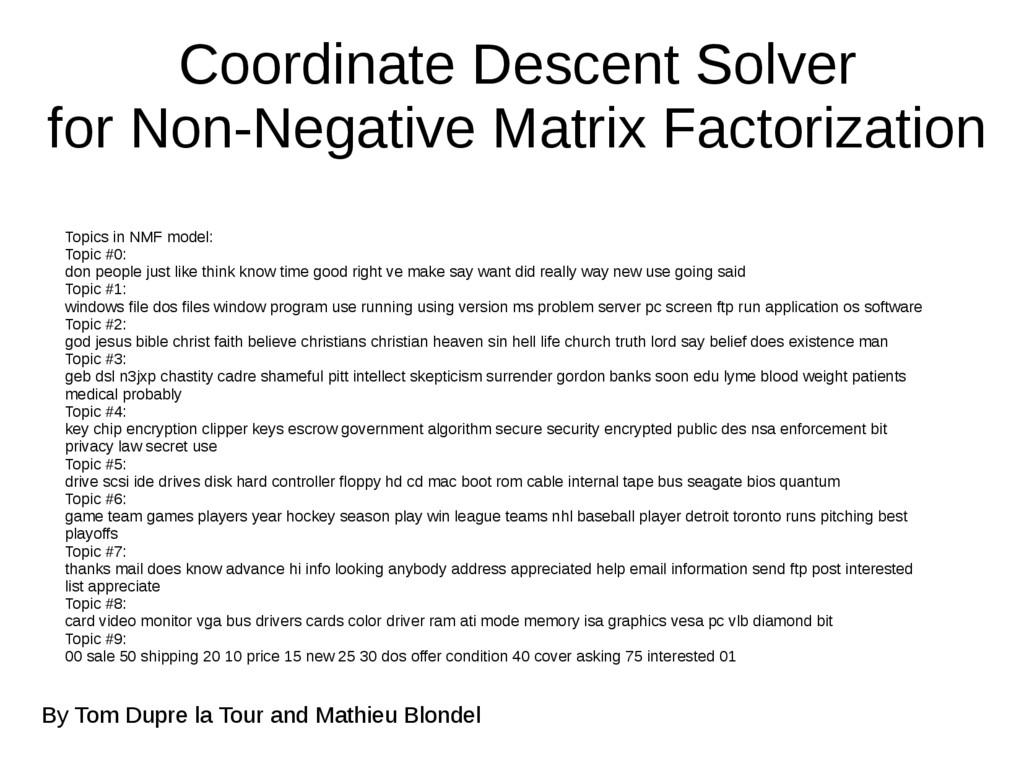 Coordinate Descent Solver for Non-Negative Matr...