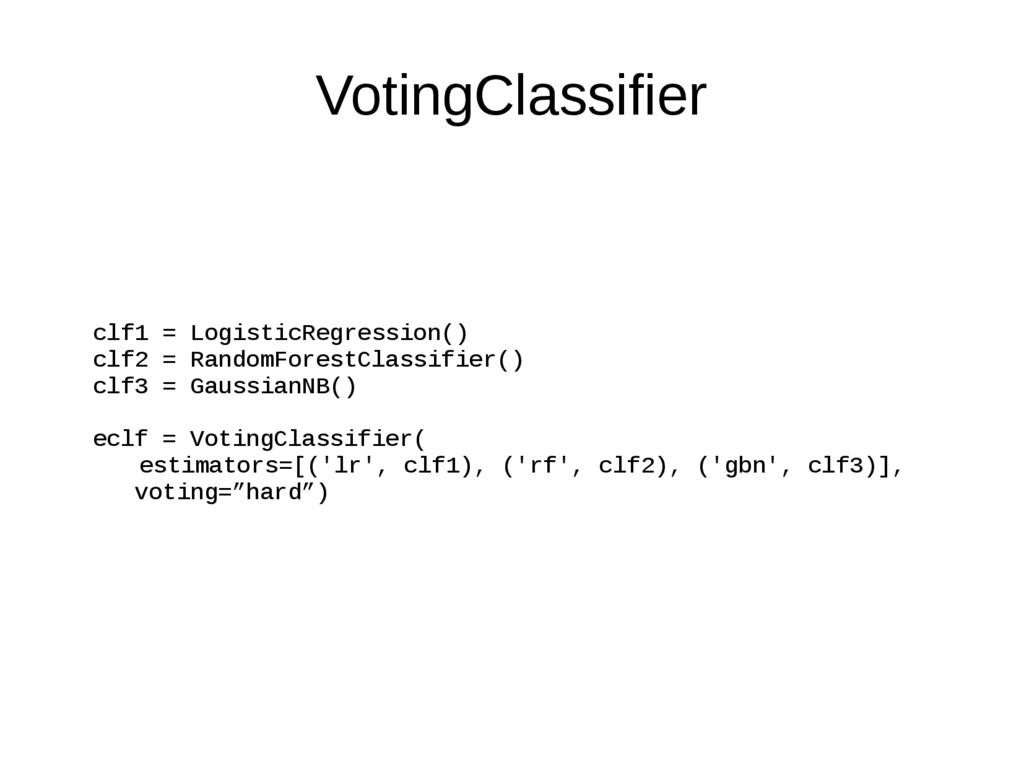 VotingClassifier clf1 = LogisticRegression() cl...