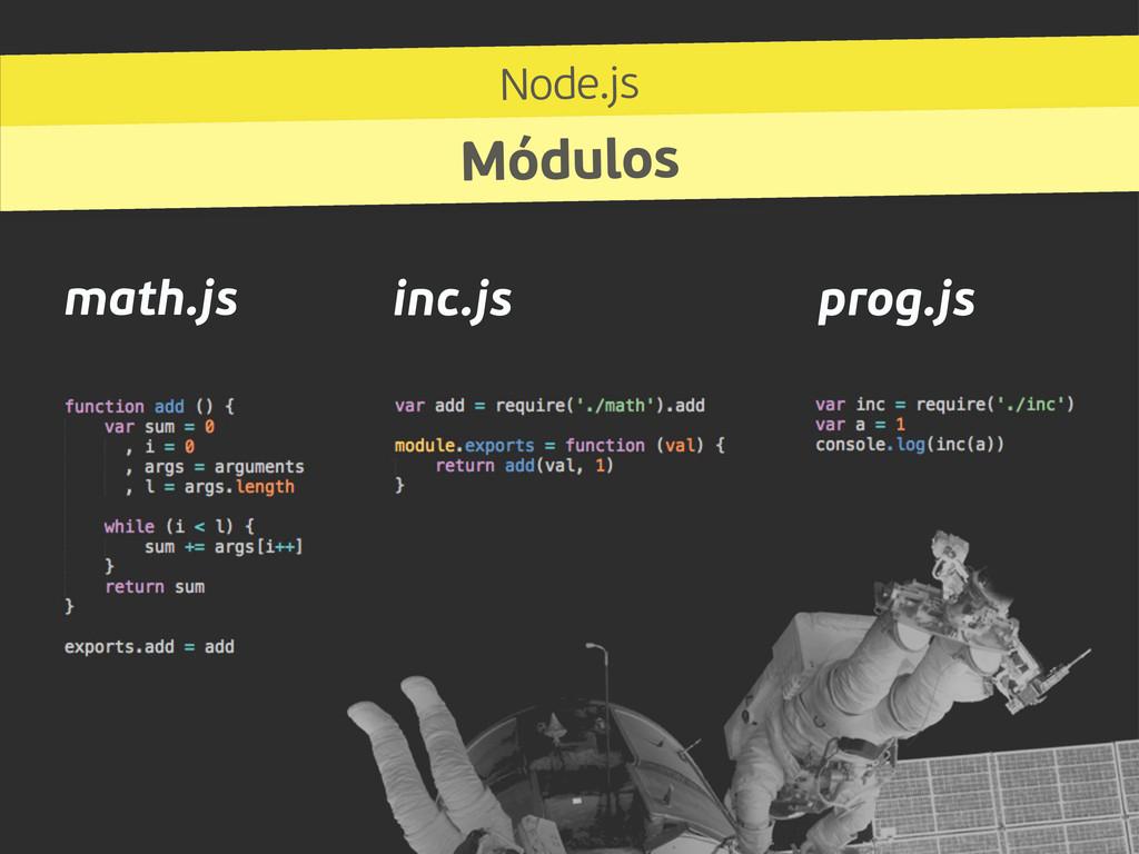 Node.js Módulos math.js inc.js prog.js
