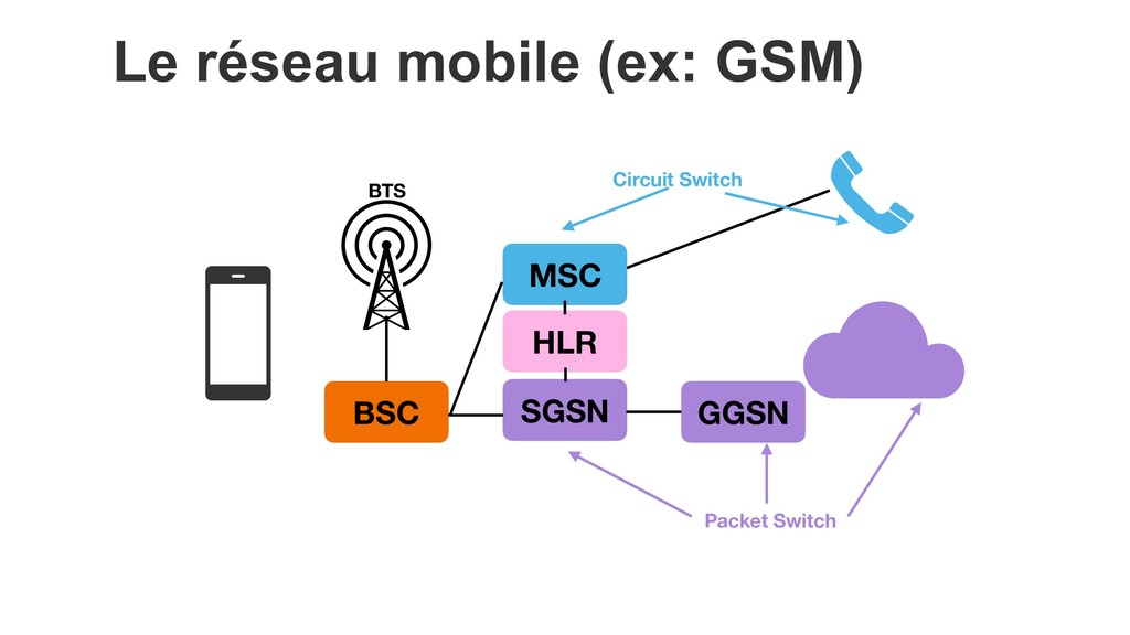 BSC MSC GGSN HLR SGSN Circuit Switch Packet Swi...