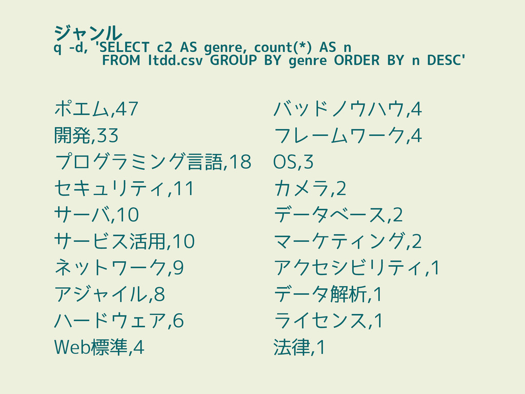 ジャンル q -d, 'SELECT c2 AS genre, count(*) AS n F...
