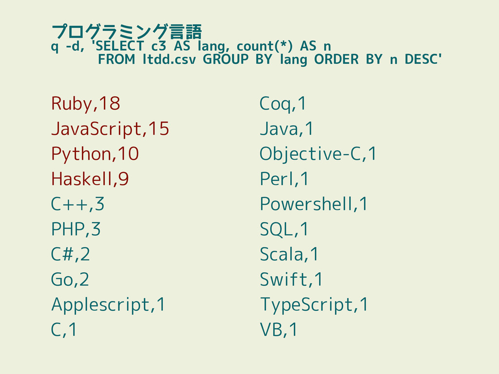 プログラミング言語 q -d, 'SELECT c3 AS lang, count(*) AS...