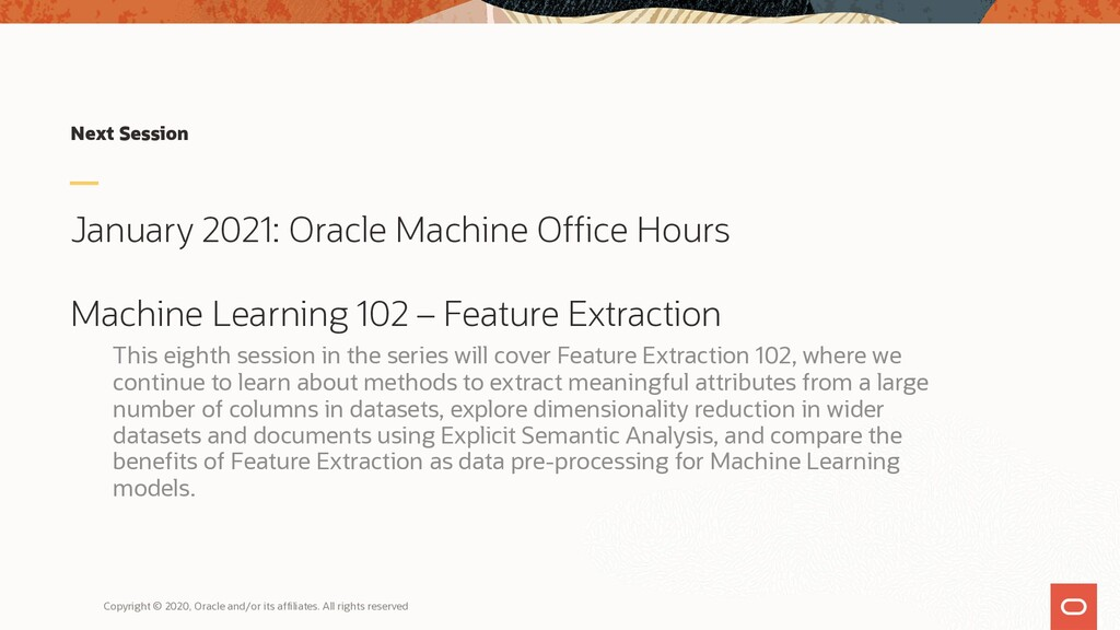 Next Session January 2021: Oracle Machine Offic...