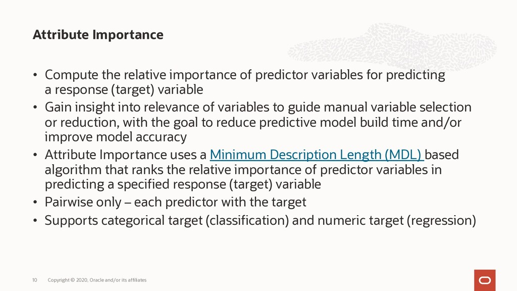 • Compute the relative importance of predictor ...