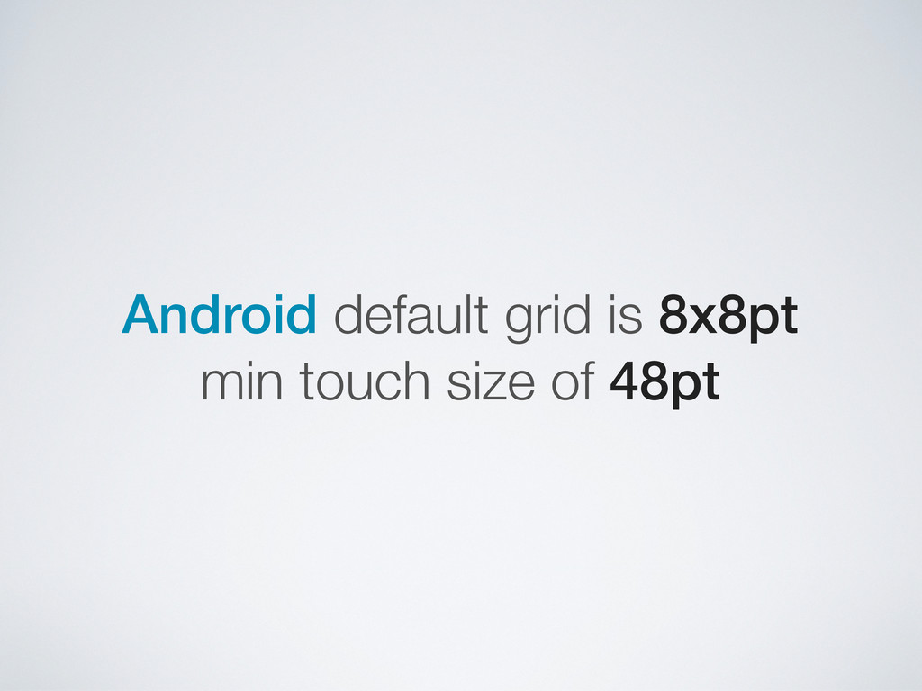 Android default grid is 8x8pt min touch size of...