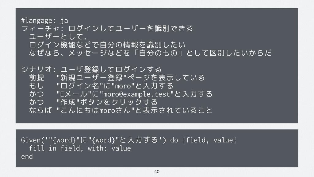 #langage: ja フィーチャ: ログインしてユーザーを識別できる ユーザーとして...