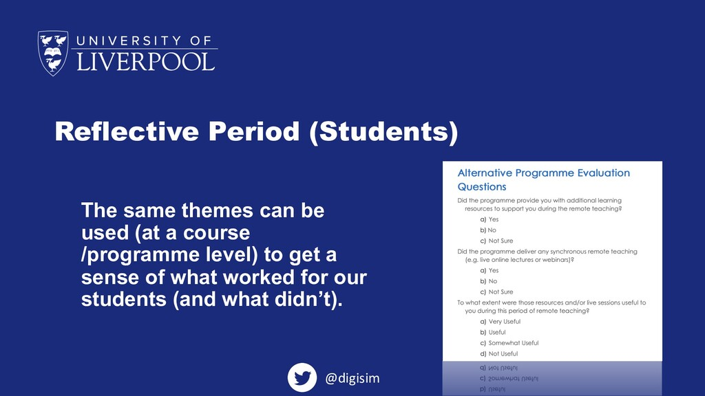 Reflective Period (Students) The same themes ca...