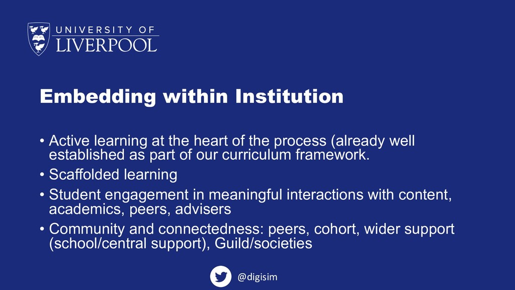 Embedding within Institution • Active learning ...