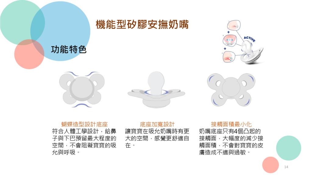 14 機能型矽膠安撫奶嘴 功能特色 蝴蝶造型設計底座 符合人體工學設計,給鼻 子與下巴預留最大...