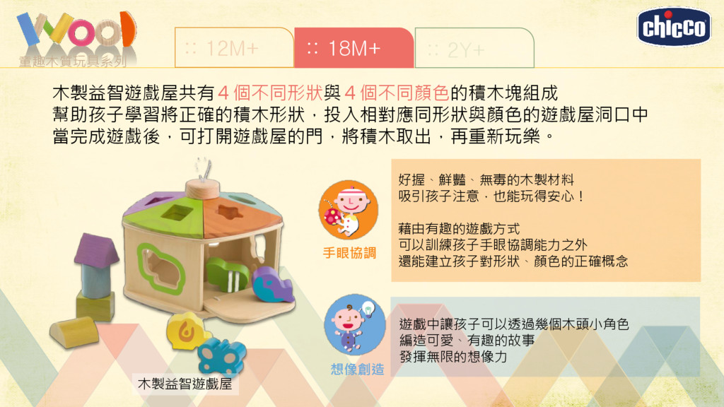 童趣木質玩具系列 :: 12M+ :: 18M+ :: 2Y+ 木製益智遊戲屋 好握、鮮豔、無...