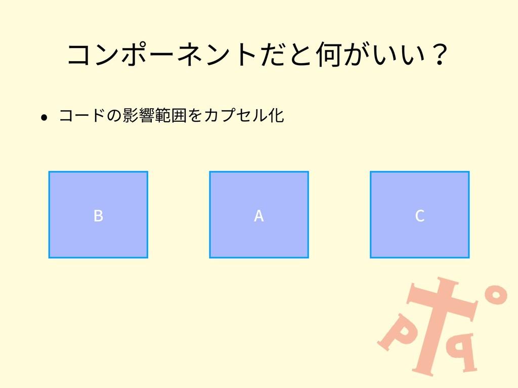コンポーネントだと何がいい? • コードの影響範囲をカプセル化 B A C