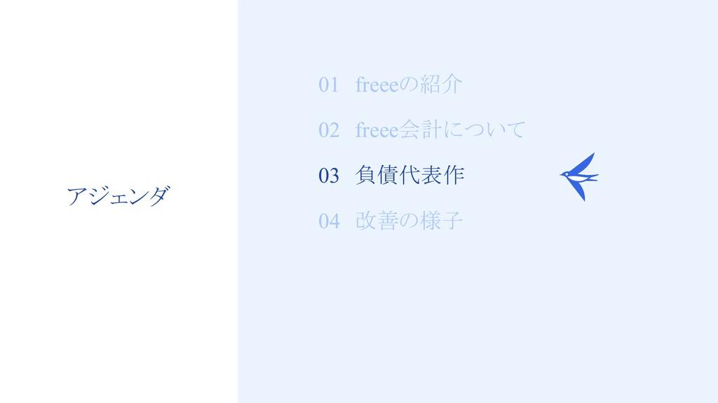 12 01 freeeの紹介 02 freee会計について 03 負債代表作 04 改善の様子...