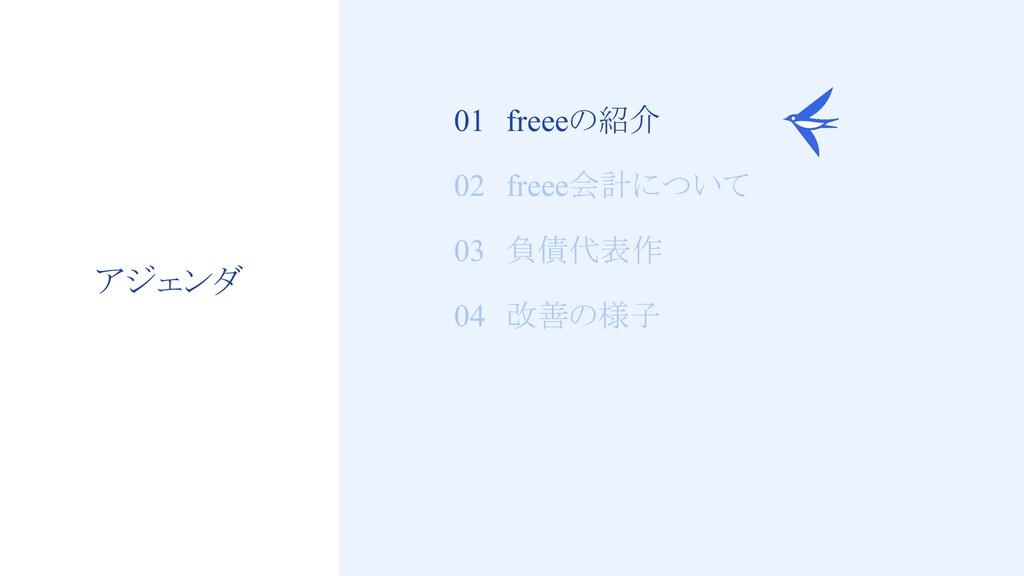 3 01 freeeの紹介 02 freee会計について 03 負債代表作 04 改善の様子 ...