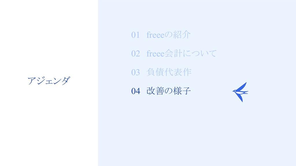 22 01 freeeの紹介 02 freee会計について 03 負債代表作 04 改善の様子...
