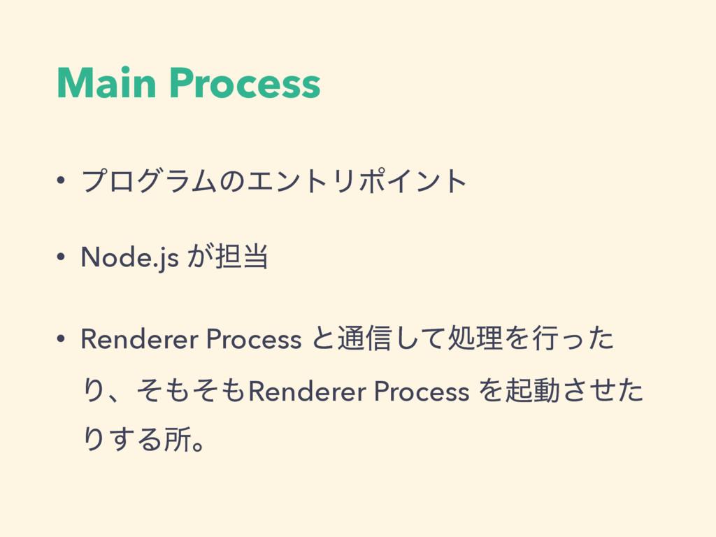 Main Process • ϓϩάϥϜͷΤϯτϦϙΠϯτ • Node.js ͕୲ • R...