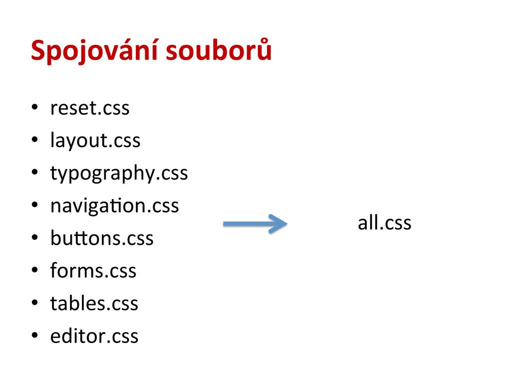 Spojování souborů • reset.css  • layout....