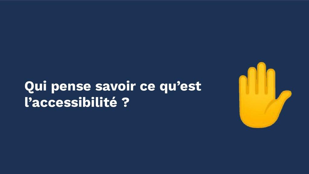 ✋ Qui pense savoir ce qu'est l'accessibilité ?