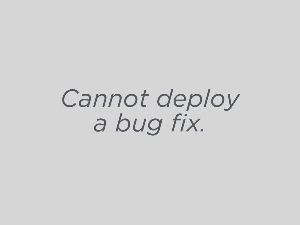 Cannot deploy a bug fix.