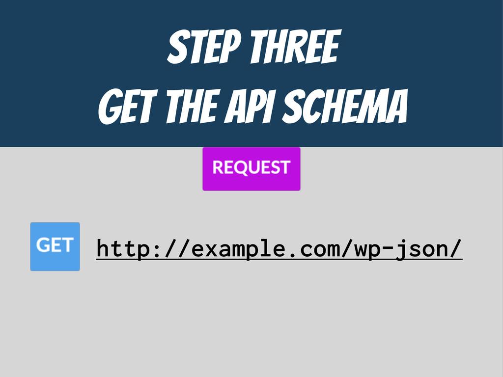 STEP THREE  GET the API ScHEMA http://example.c...