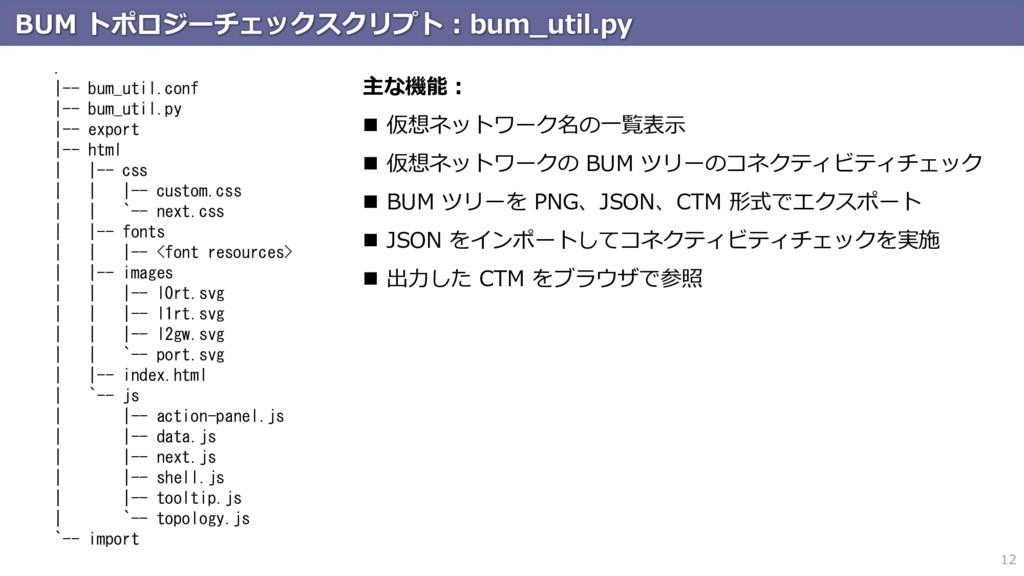 BUM トポロジーチェックスクリプト:bum_util.py 12 .  -- bum_uti...