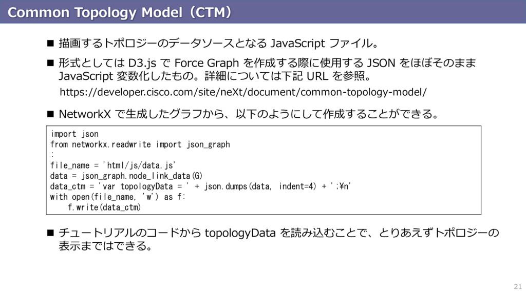 Common Topology Model(CTM) 21  描画するトポロジーのデータソー...