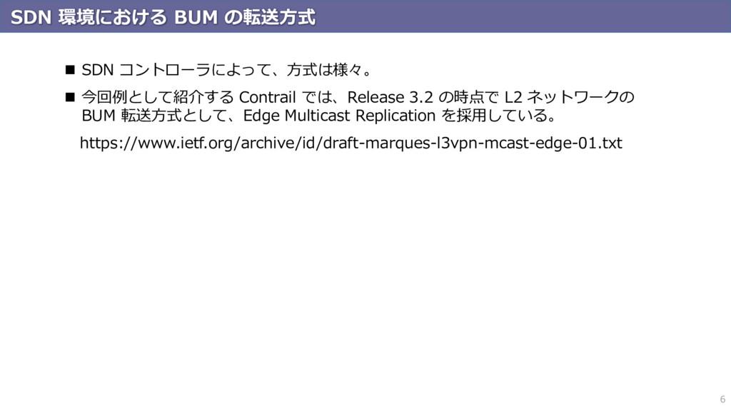 SDN 環境における BUM の転送方式 6  SDN コントローラによって、方式は様々。 ...