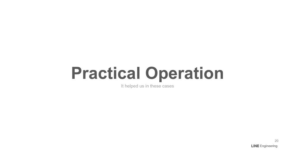 Engineering Practical Operation It helped us in...