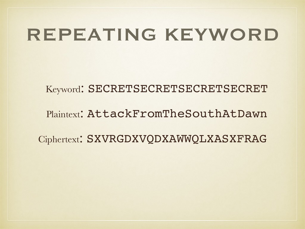 REPEATING KEYWORD Plaintext: AttackFromTheSouth...