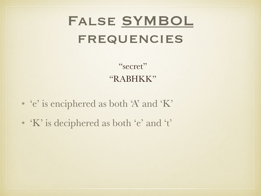False SYMBOL frequencies • 'e' is enciphered as...