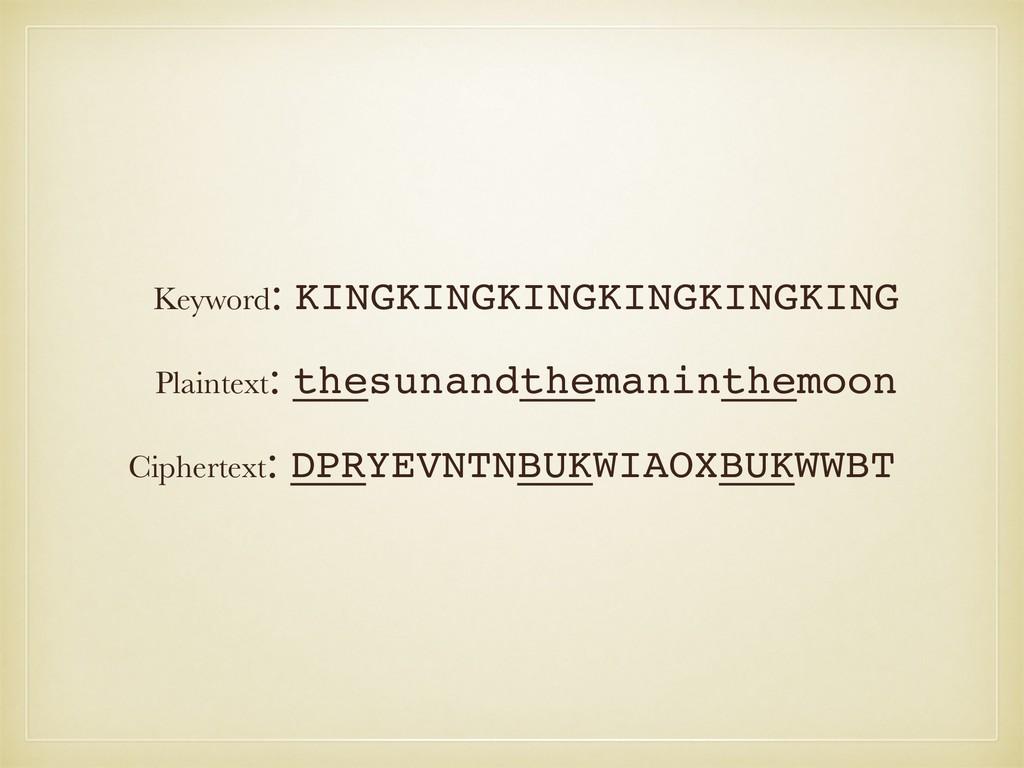 Plaintext: thesunandthemaninthemoon Ciphertext:...