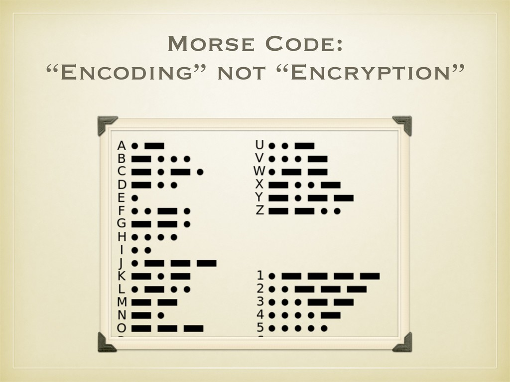 "Morse Code: ""Encoding"" not ""Encryption"""