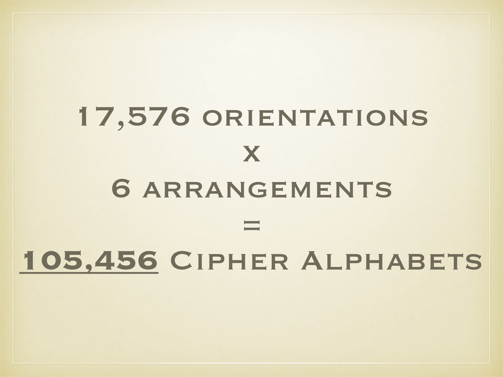 17,576 orientations x 6 arrangements = 105,456 ...