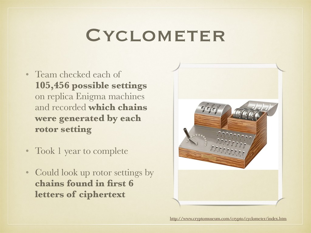 Cyclometer • Team checked each of 105,456 possi...
