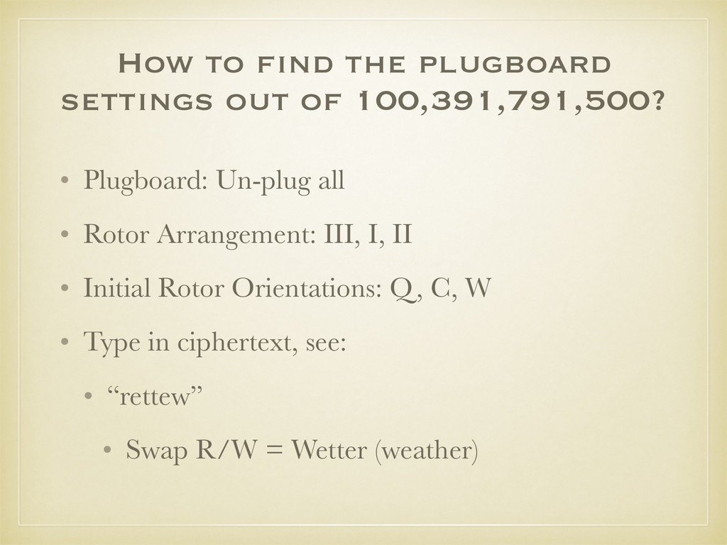 How to find the plugboard settings out of 100,3...