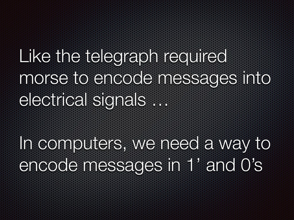 Like the telegraph required morse to encode mes...