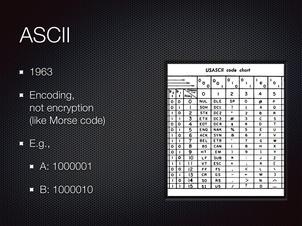 ASCII 1963 Encoding, not encryption (like Mor...