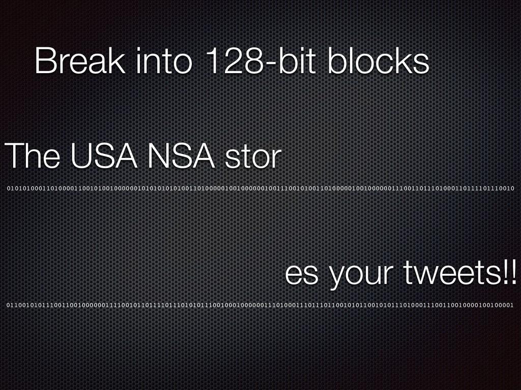 Break into 128-bit blocks 010101000110100001100...