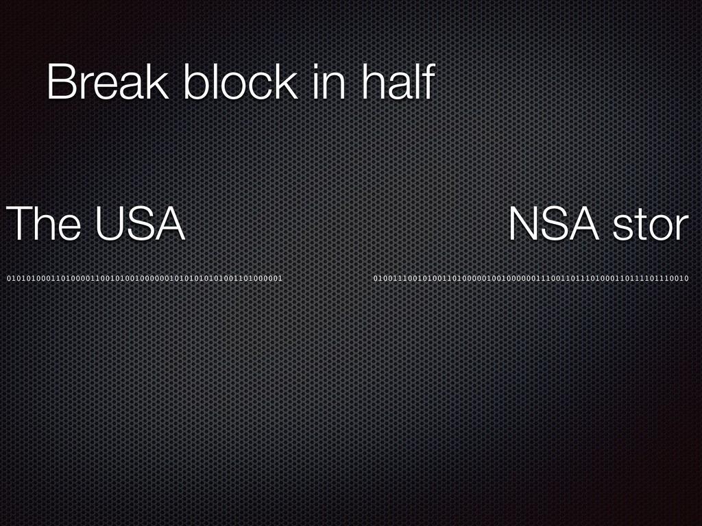 Break block in half 010101000110100001100101001...