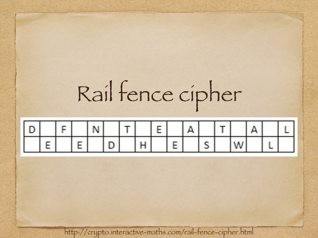 Rail fence cipher http://crypto.interactive-mat...